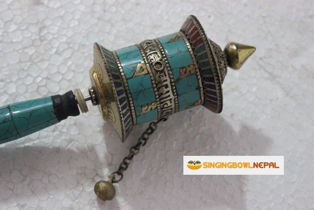 Buddhist Coper /& Stone Set Hand-held Prayer Wheel 9 Inch with Authentic Wooden Handle