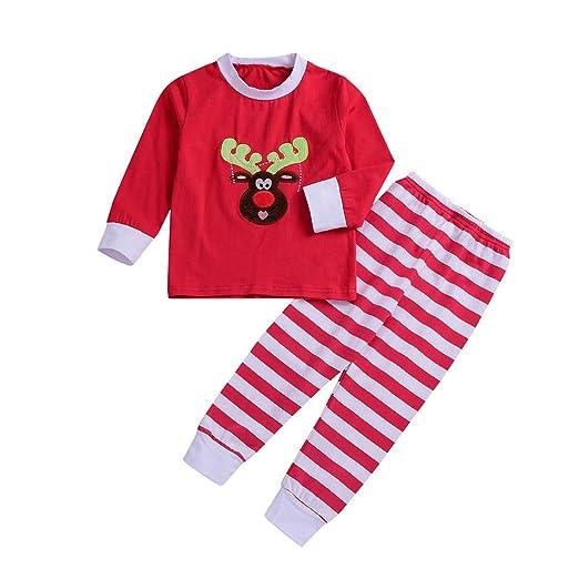 79a8511c7f939 Amazon.com: HongXander Baby Clothes Sets, 2PCS Toddler Kids Christmas  Cartoon Deer Head Print Tops+Stripe Pants Set Outfit: Clothing