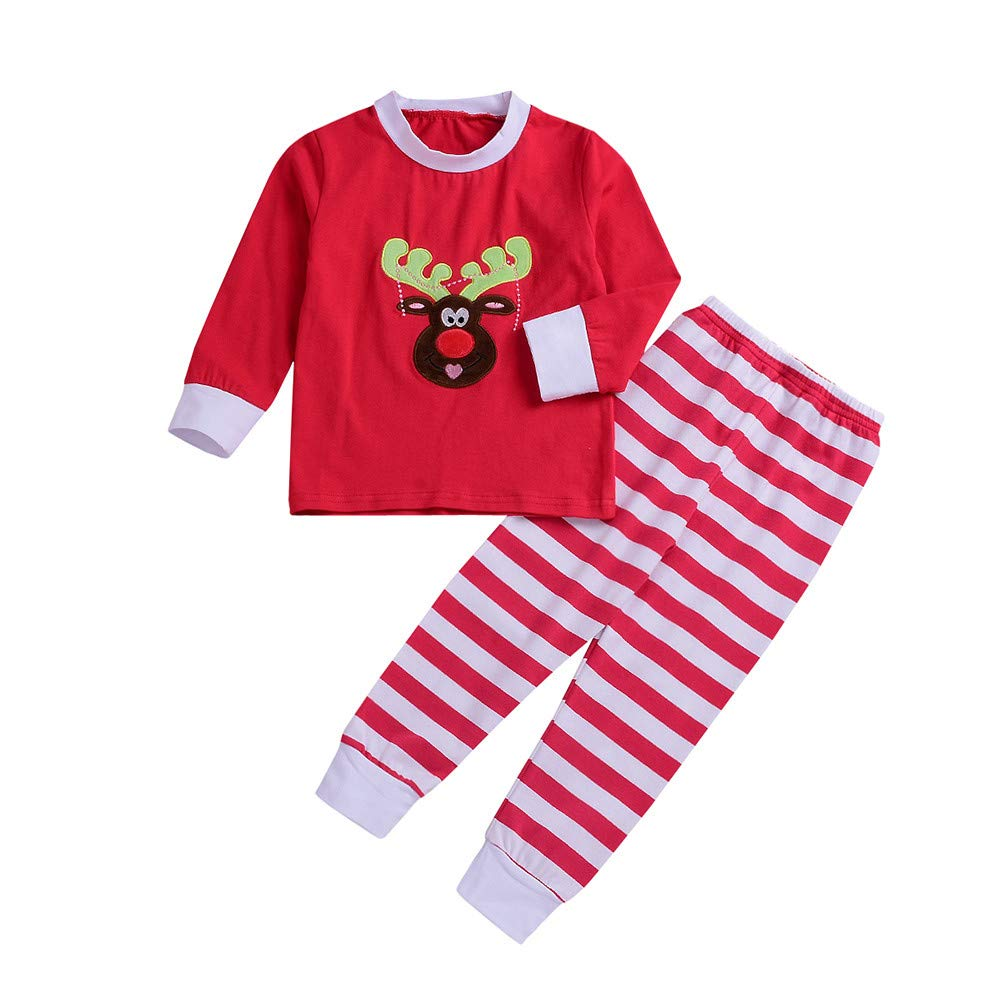 2 PC Boys Girls Cartoon Deer Long Sleeve T-Shirt+Stripe Long Pants Christmas Dress Up Sleepwear Outfit WARMSHOP No Shipping