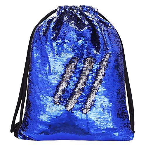 Alritz Mermaid Sequin Drawstring Bag, Reversible Sequin Backpack Glittering Outdoor Shoulder Bag for Girls Boys Women (Royal Blue/Silver) -
