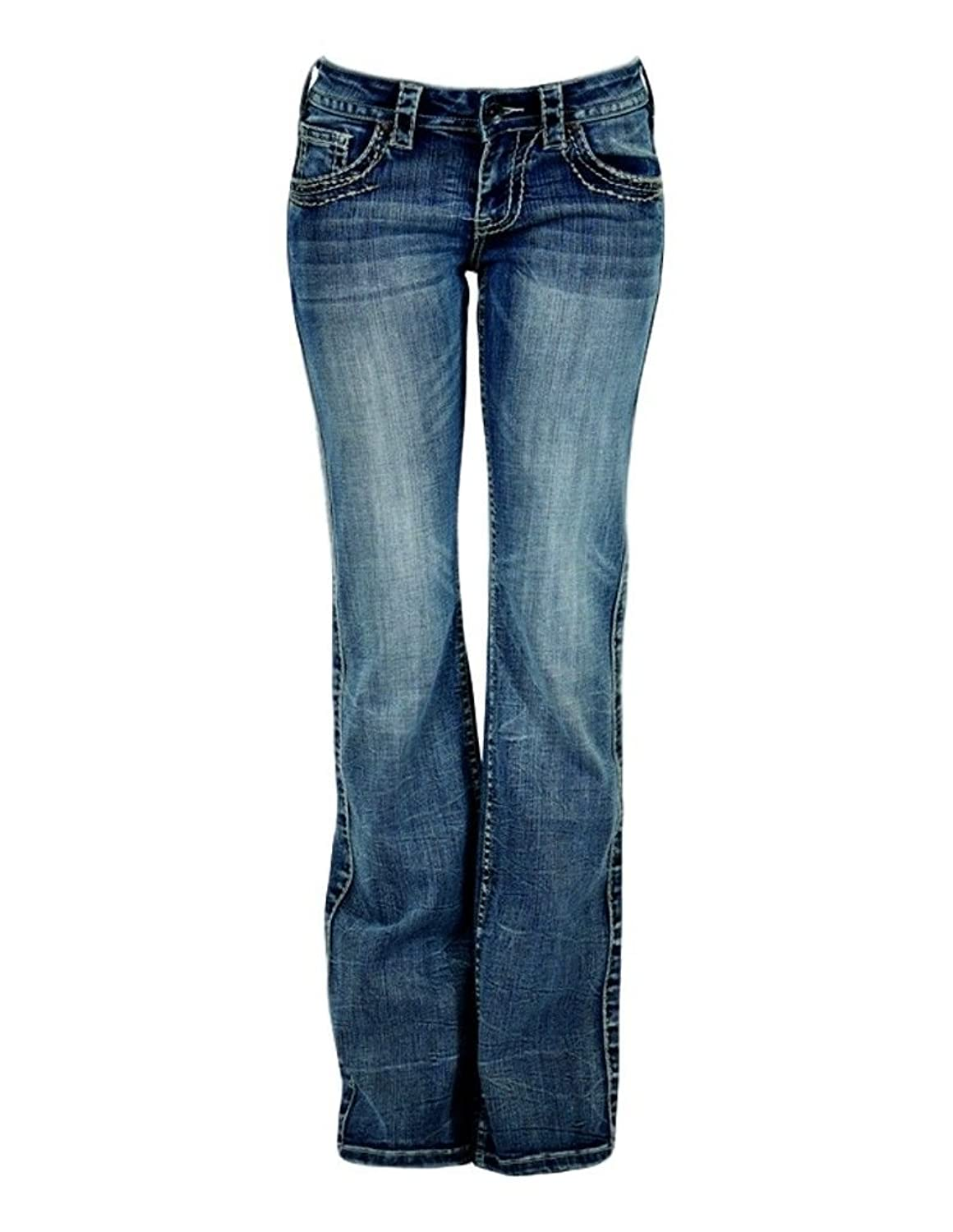 Cowgirl Tuff Western Denim Jeans Womens Timeless Barbed Wire Med JTIMEL