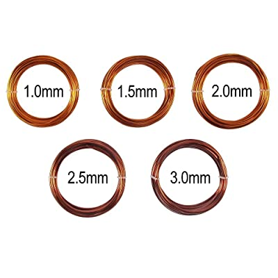 Bonsai Training Wire in Solid Enameled Copper - Set of 5 Sizes - 1.0mm, 1.5mm, 2.0mm, 2.5mm, 3.0mm : Everything Else