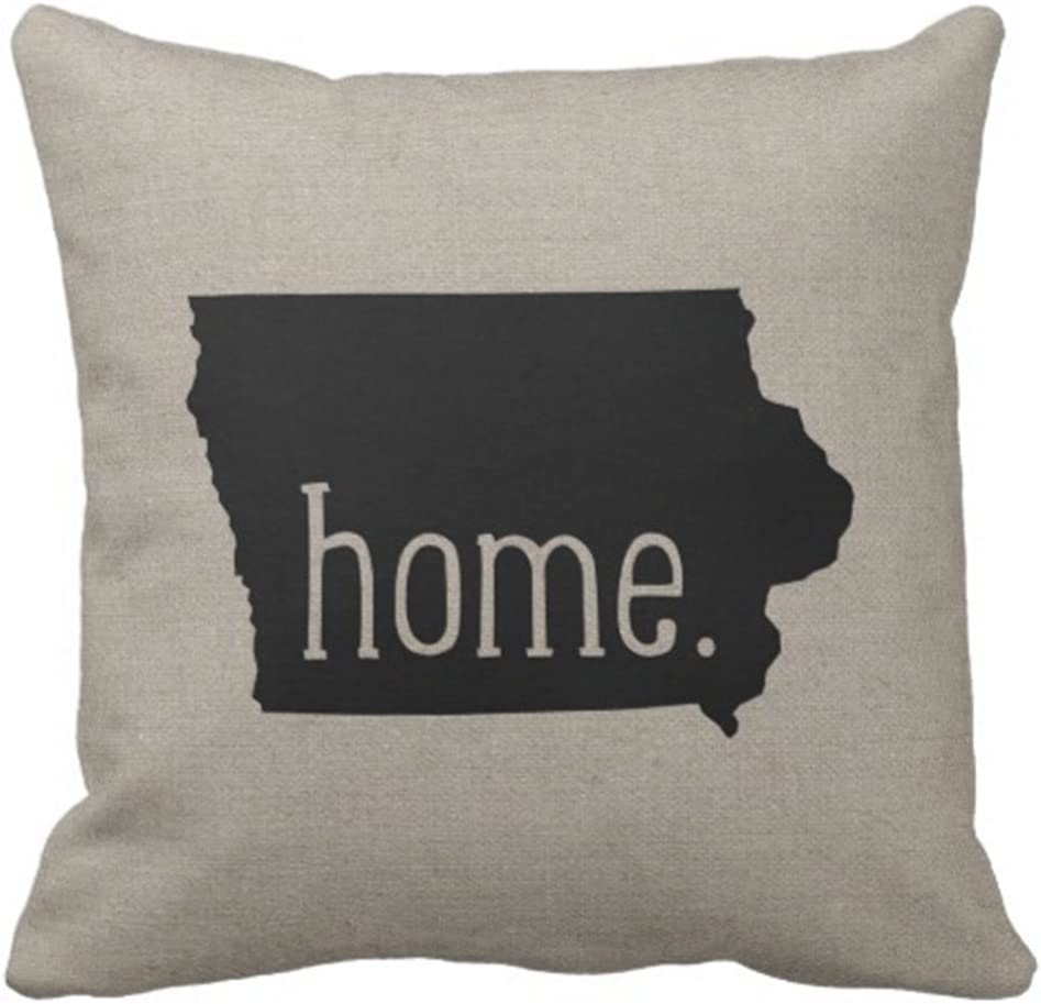 Emvency Throw Pillow Cover Iowa Home State Decorative Pillow Case Love Home Decor Square 18 x 18 Inch Cushion Pillowcase