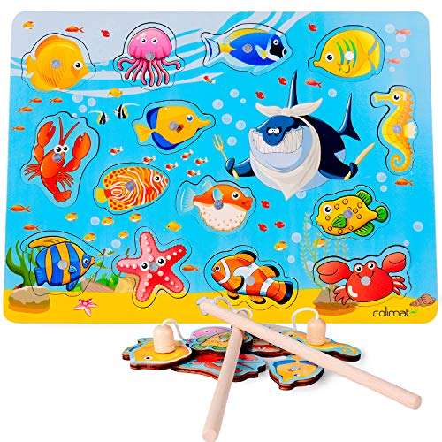 rolimate Magnetic Fishing Toy with 2 Fishing Rods, Preschool Learning Toy Educational Toy for 3 Years Old Kid Children Toddler