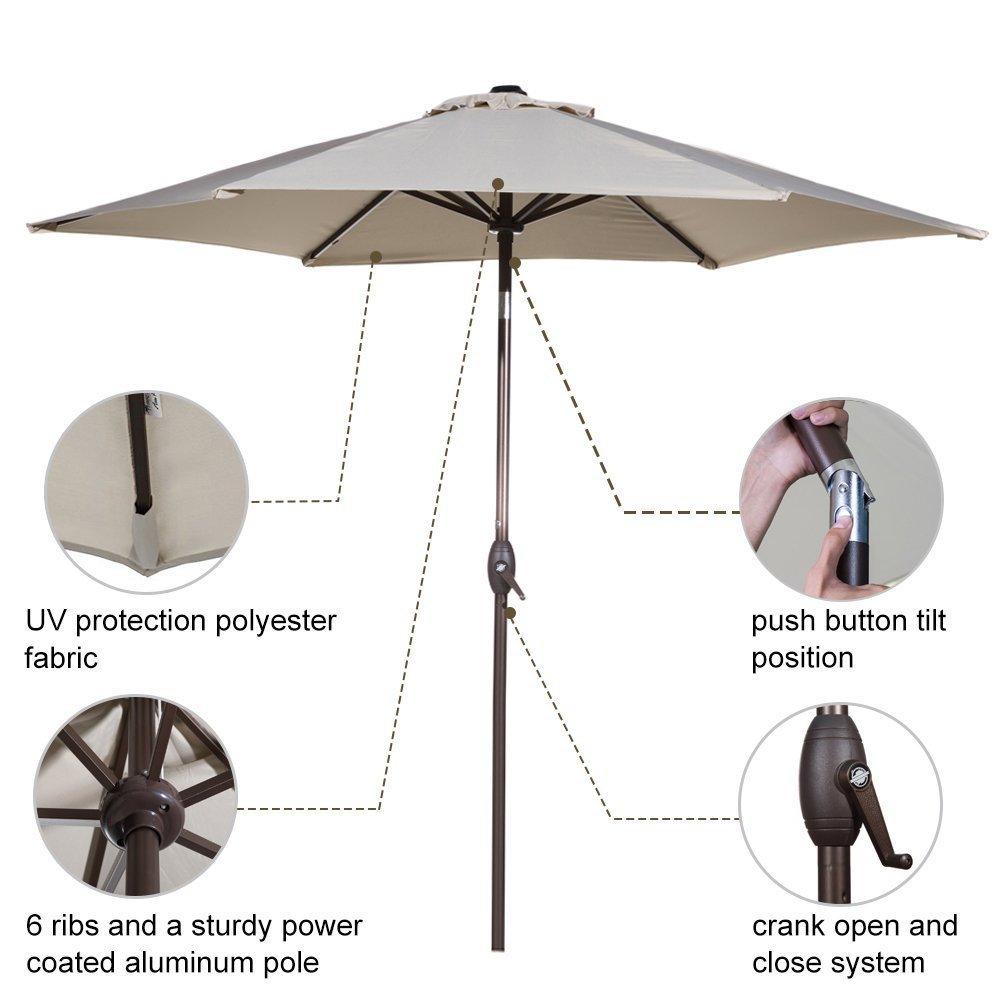 Grand Patio 9ft Aluminum Patio Umbrella Uv Protective Beach