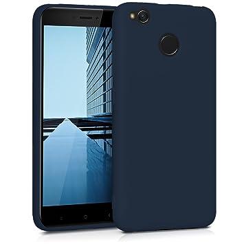kwmobile Funda para Xiaomi Redmi 4X - Carcasa para móvil en [TPU Silicona] - Protector [Trasero] en [Azul Oscuro Mate]