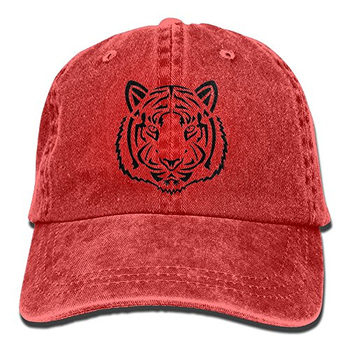 Buecoutes Black Line Tiger Head Vintage Cowboy Baseball Caps Trucker Hats Red ()
