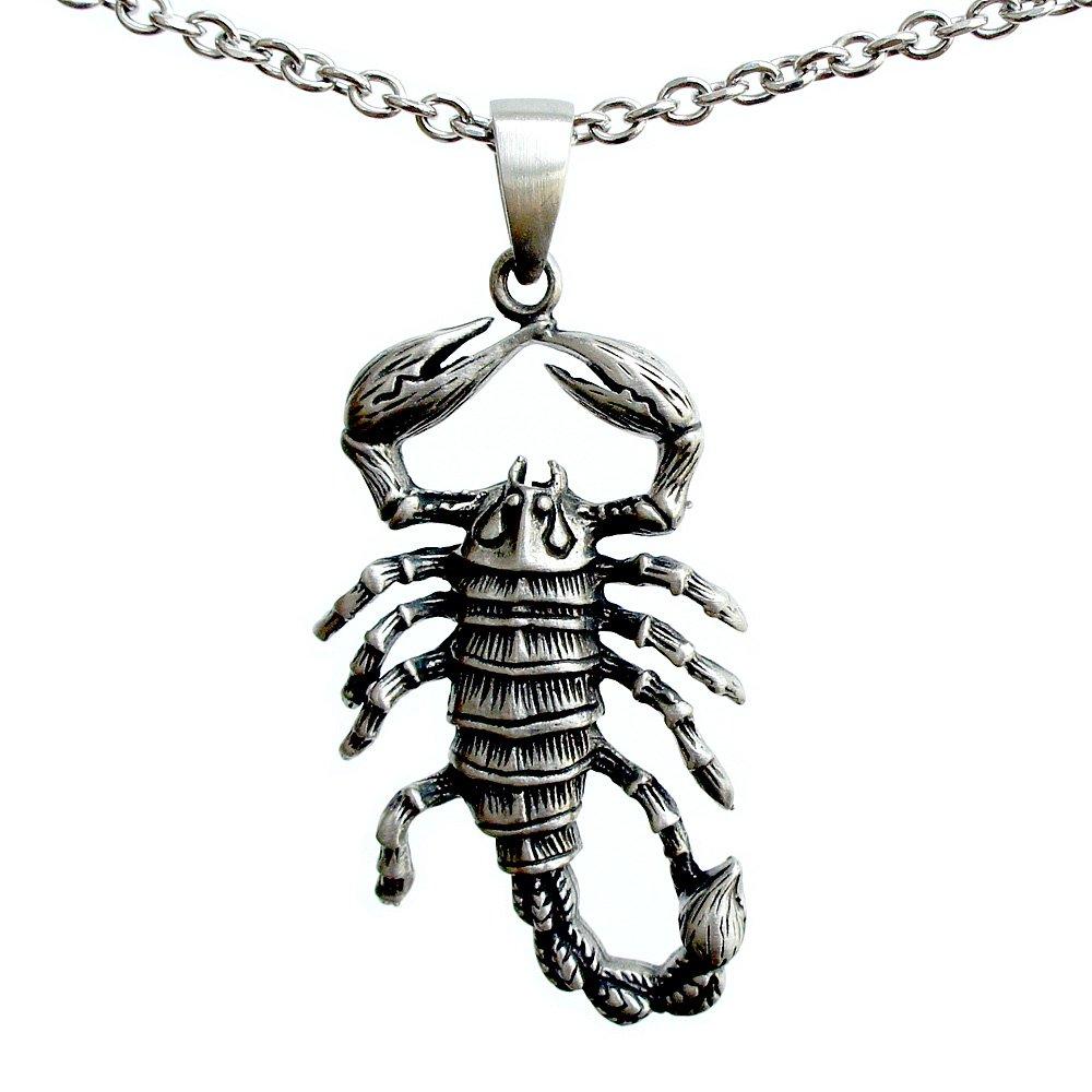 Arachnids Scorpion Scorpio Zodiac Sign Astrology Pewter Pendant Necklace Stainless Steel Chain