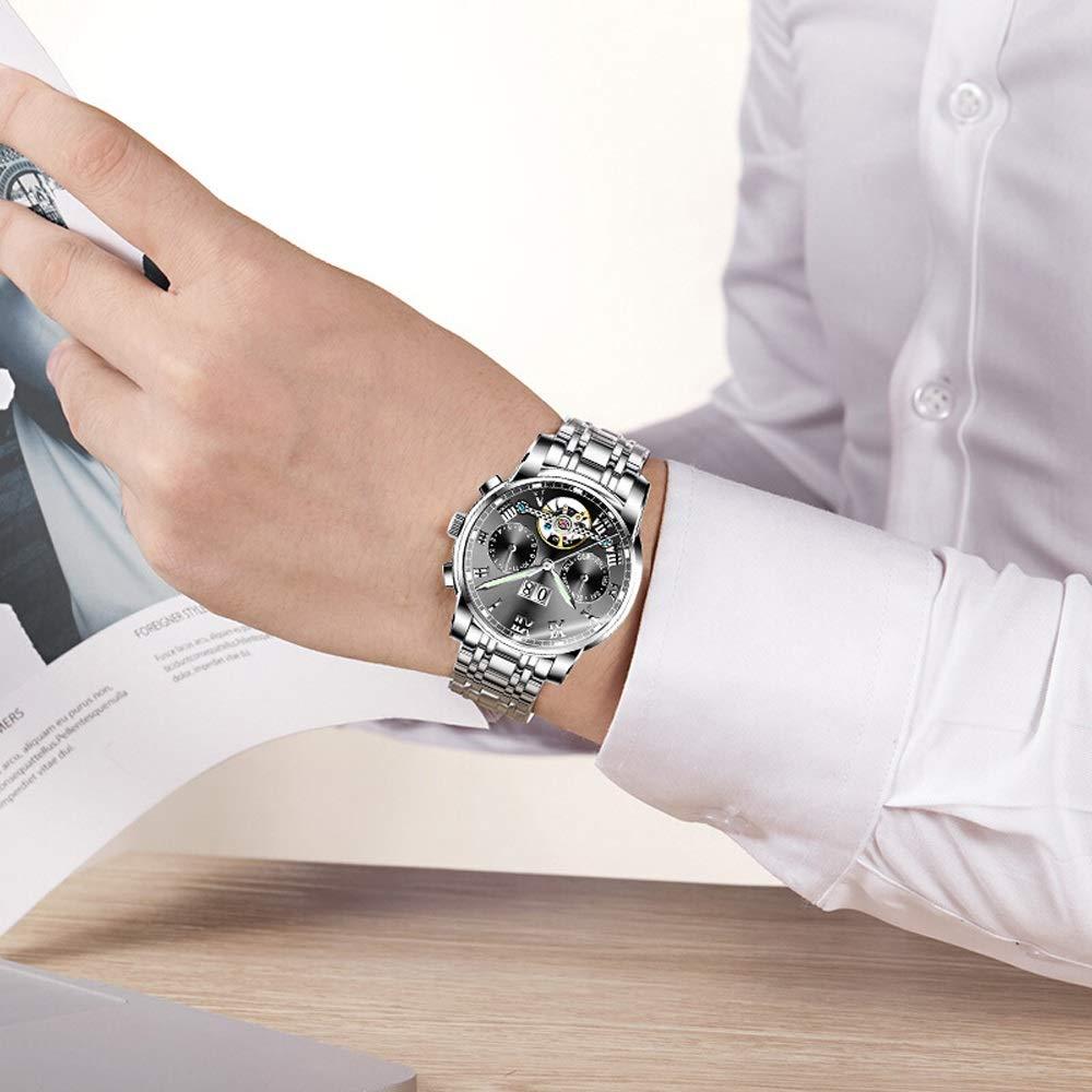 Klockklockor herr mekanisk kalender vattentät klocka rostfritt stål bälte JFYCUICAN 01svart