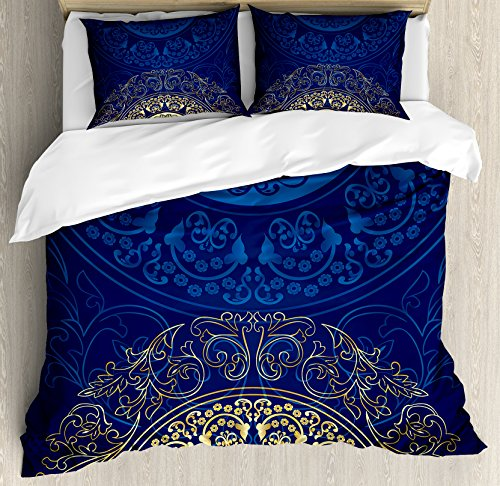Lunarable Royal Blue Duvet Cover Set King Size, Vintage Eastern Circular Floral Arabesque Old Fashioned Artsy Design, Decorative 3 Piece Bedding Set with 2 Pillow Shams, Royal Blue and Yellow