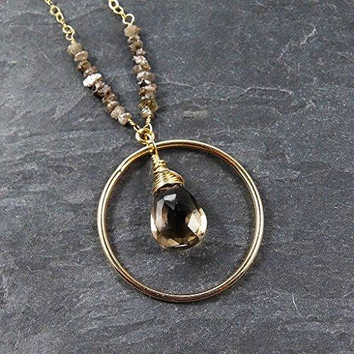 Raw Chocolate Diamond Brown Smoky Quartz Gold Gemstone Pendant (Brown Quartz Pendant)