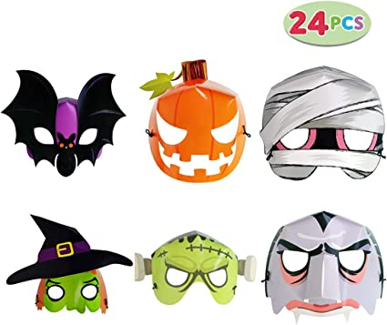 Amazon.com: WEYFLY 24 Pack Halloween Fluorescent Paper Mask ...