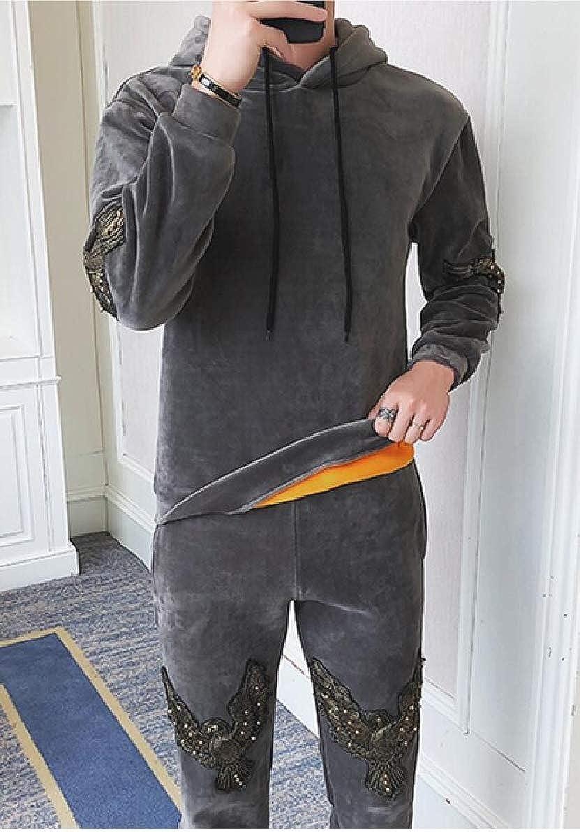 ONTBYB Mens Casual Velvet Hoodies Sweatshirts Thick Coat Pants Sport Tracksuit