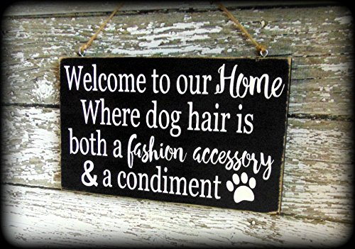Welcome Dog Sign (Funny Dog Sign Handmade Wooden Welcome Plaque Housewarming Gift)