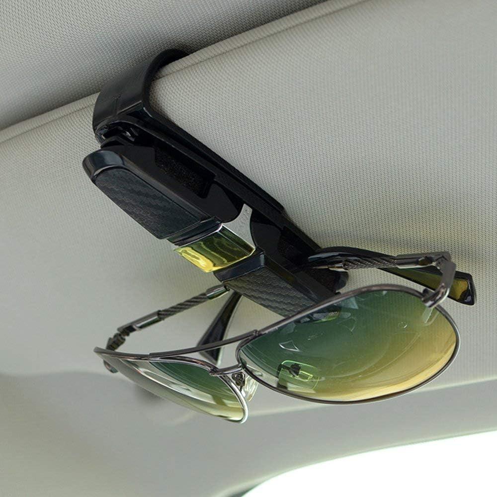 2 Pack eyeglass holder for car sun visor Black sunglasses with glasses Cards Clip