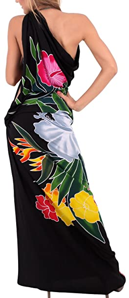 ef83fe0a60 LA LEELA Rayon Swimsuit Tie Slit Skirt Sarong Printed 78 quot X43 quot   Black 4593