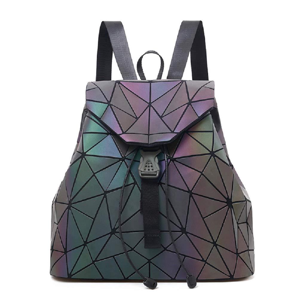 Frauen Geometrisch Leuchtend Rucksack und Handtasche Damen Fashion Schultertasche Lingge Flash Travel Rucksack NO.1