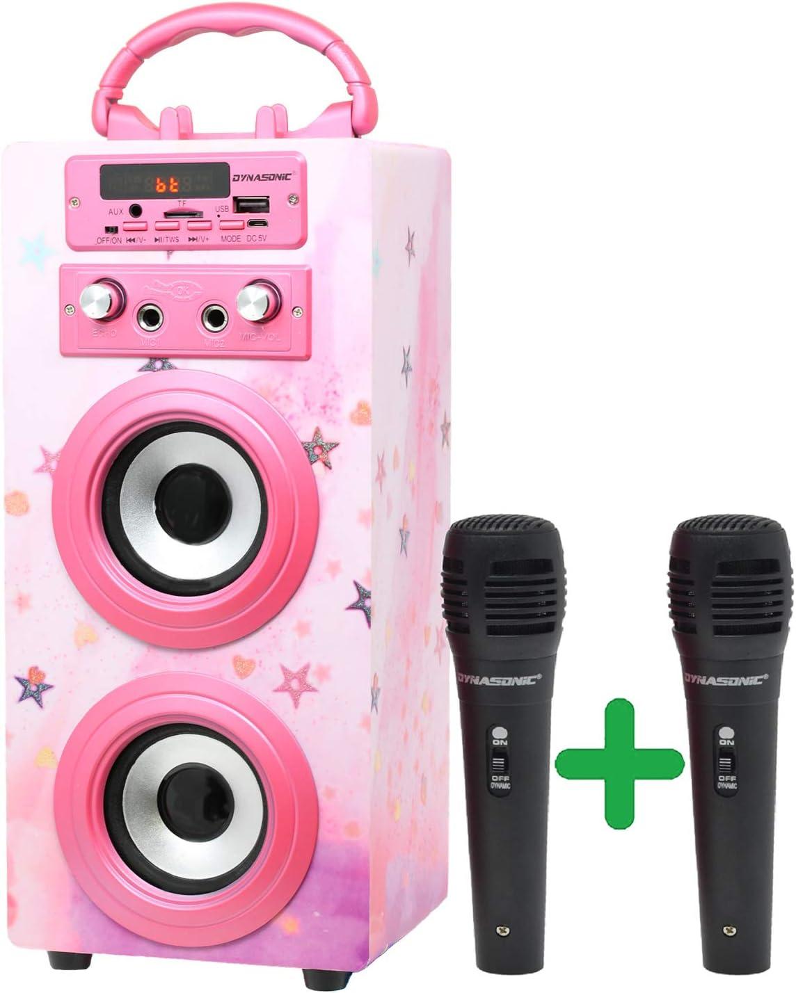 DYNASONIC (3º Generación)- Altavoz Bluetooth Portatil Karaoke con Micrófonos Incluidos | Lector USB y SD, Radio FM Modelo 025 (Rosa Brillante)