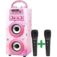 DYNASONIC (3º Generación)- Altavoz Bluetooth Portatil Karaoke con Micrófonos Incluidos | Lector USB y SD, Radio FM…