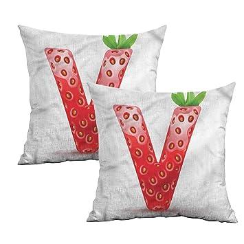 Amazon.com: Khaki home Letter V Square Slip Pillowcase ABC ...
