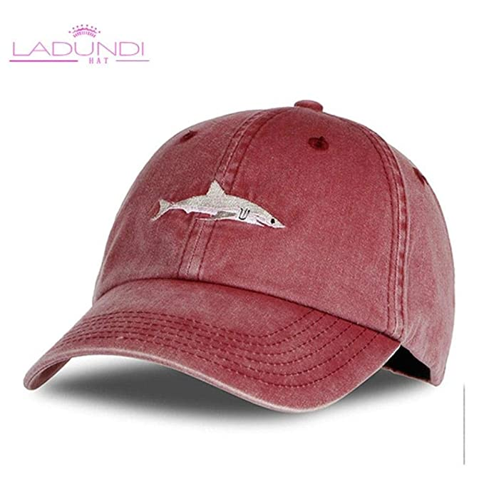 30e3fa94df3 Washed Baseball Cap Men Pink Shark Embroidery Dad Hat for Women Gorras  Planas Snapback Golf Bosco Sport (Adjustable