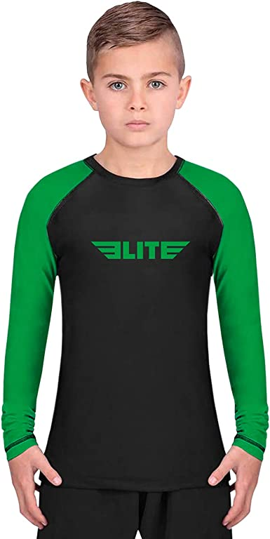 Full Sleeve Compression BJJ Kids and Youth Rash Guard Elite Sports Rash Guards for Boys and Girls