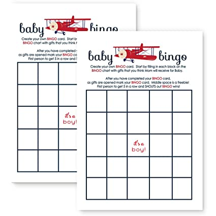 Airplane Baby Shower Bingo Cards For Boys Set Of 25