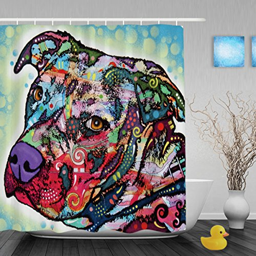 CafeTime Cute Pitbull Shower Curtains Lightness Art Dog Bathroom Shower Curtains Funny Home Decor Animals Bathroom Curtains Waterproof Mildew Resistant Fabric 60x72Inch (Where To Buy Home Bars)