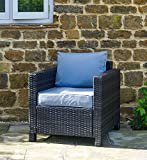 Sue Ryder Rattan Garden Outdoor Patio Conservatory Chair with Grey Cushion