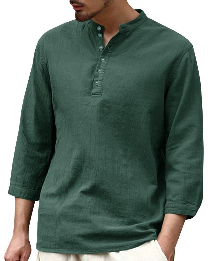 Enjoybuy Mens Henley Neck Casual Linen Cotton Shirt Summer Long Sleeve Loose Fit Beach Shirts (Medium, 02-Green)