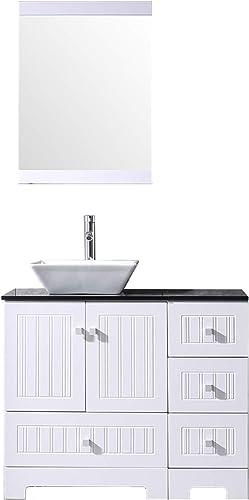 Sliverylake 36 Bathroom Vanity and Sink Combo, Ceramic Vessel Sink 36 Vanities for Bathrooms Cabinet Countertop Bowl w Mirror Set White Trapeziform