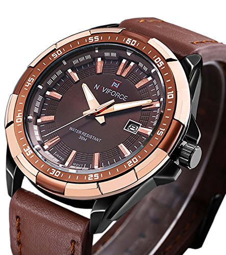 Tonnier Analog Men's Quartz Watch Calendar Watches Brown Leather Strap Luxurious Man Watches