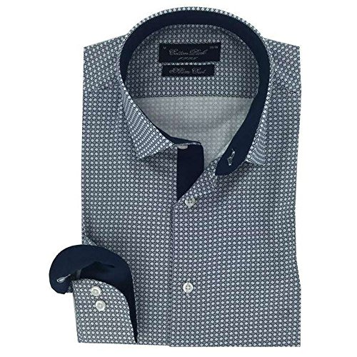 Cotton Park - Chemise 'Walker Cannage' bleue - Homme