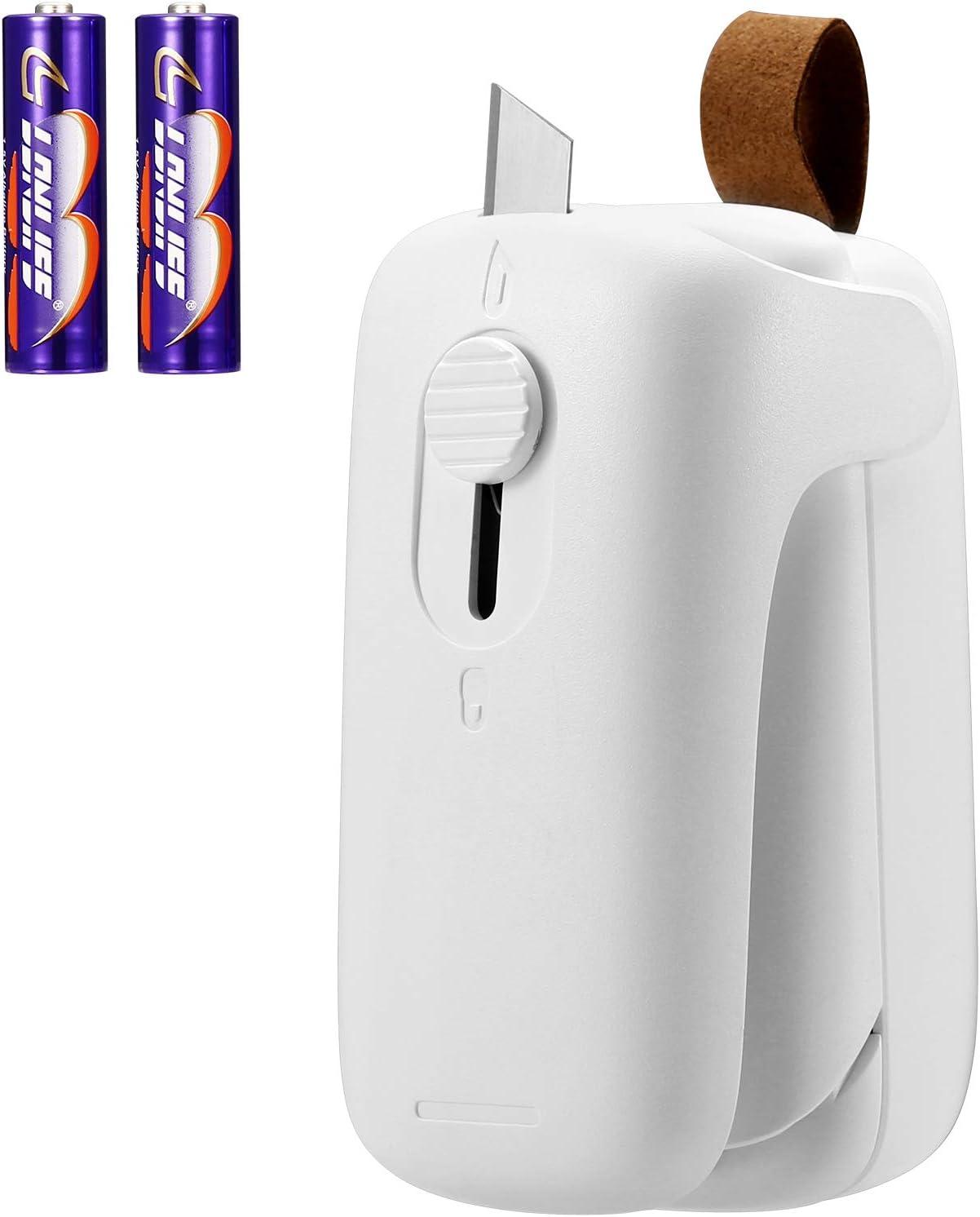 KeeKit Mini Bag Sealer, 2 in 1 Heat Sealer and Cutter, Handheld Bag Heat Vacuum Sealers, Sealing Machine Portable for Plastic Bags, Snack Fresh Bag, Food Storage (Battery Included) - White