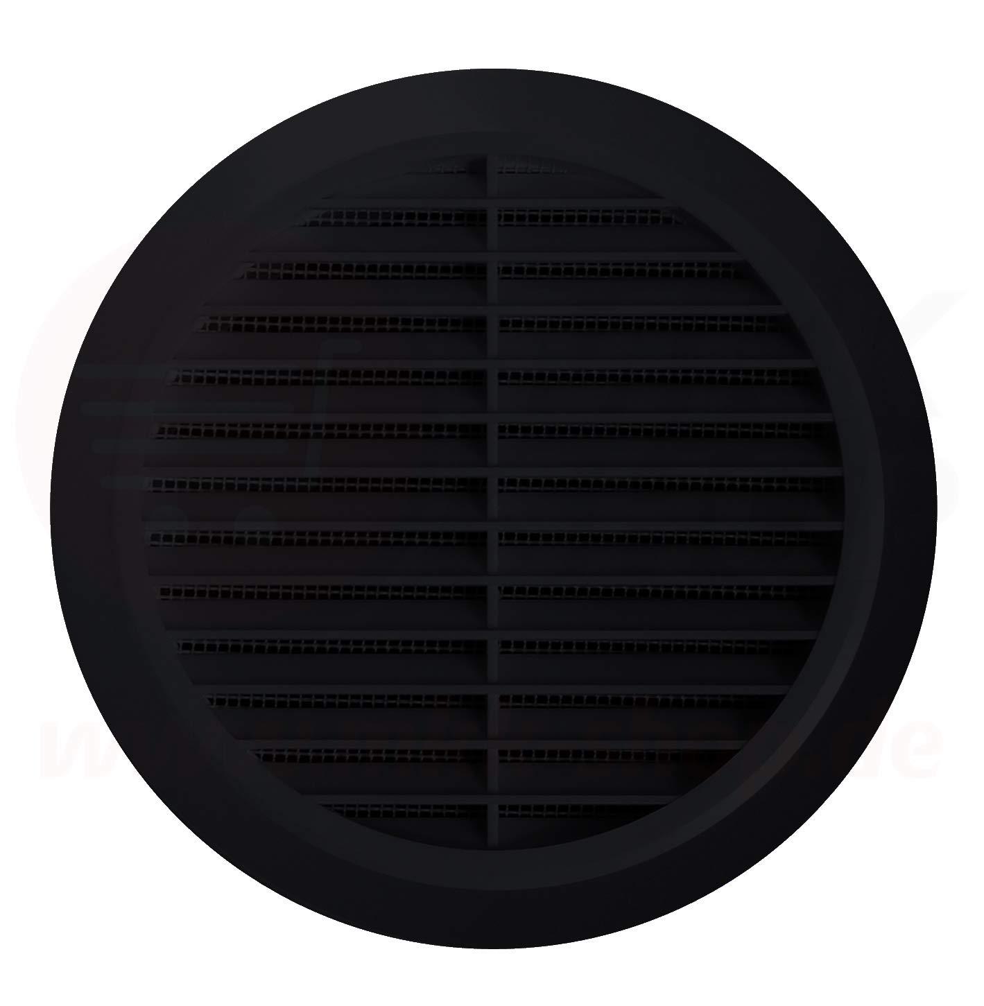 En plastique /Ø 60 mm Grille de ventilation ronde pour insectes Noir