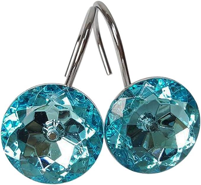 Set of 12 Glass Crystal Rhinestones Adwaita Decorative Shower Curtain Hooks White