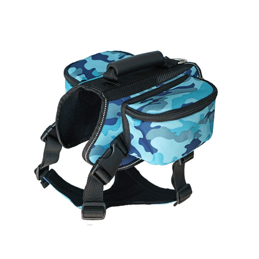 bluee camouflage LGJ Pet Out Travel Camouflage From Backpack Large Dog Outdoor Selftapping Bag Tow Backpack Plus Traction Rope (color   Pink camouflage, Size   L)