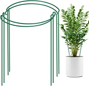 "LEOBRO 4 Pack Plant Support Stake, Metal Garden Plant Stake, Green Half Round Plant Support Ring, Plant Cage, Plant Support for Tomato, Hydrangea, Rose, Vine (9.4"" Wide x 15.6"" High)"