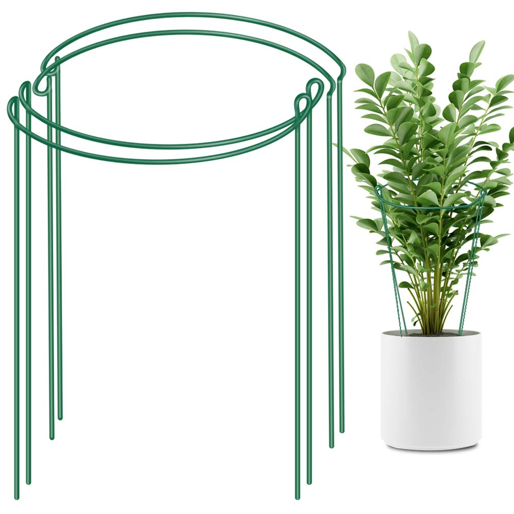 LEOBRO 4 Pack Plant Support Stake, Metal Garden Plant Stake, Green Half Round Plant Support Ring, Plant Cage, Plant Support for Tomato, Hydrangea, Rose, Vine 9.4 Wide x 15.6 High