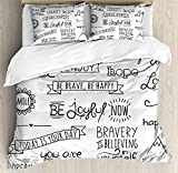 Our Wings Adventure Comforter Set,Various Quotes on Happiness Self Value Uplifting Phrases Being Who You Are Bedding Duvet Cover Sets Boys Girls Bedroom,Zipper Closure,4 Piece,Black White Twin Size