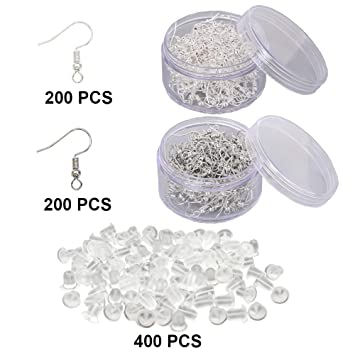 200pcs French Earring Hooks With Silicone Backings 50 Pairs