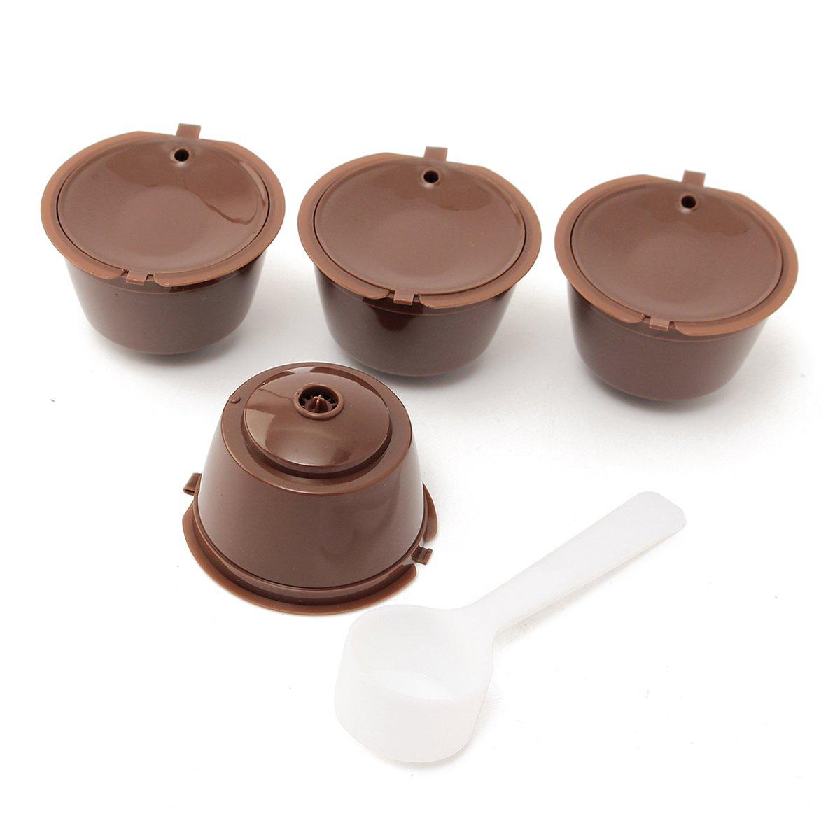 Tutoy 5X Set Wieder verwendbar Kaffeekapsel Tasse Kaffee Filter für Dolce Gusto Machine Plastiklöffel