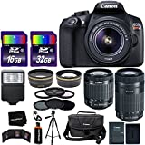 Canon EOS Rebel T6 Digital SLR Camera International Version + EF-S 18-55mm Lens + 55-250mm IS STM Zoom Lens + Telephoto & Wide Lenses + Canon Case + Flash + ND & UV Filter Set + 48GB Memory + Tripod