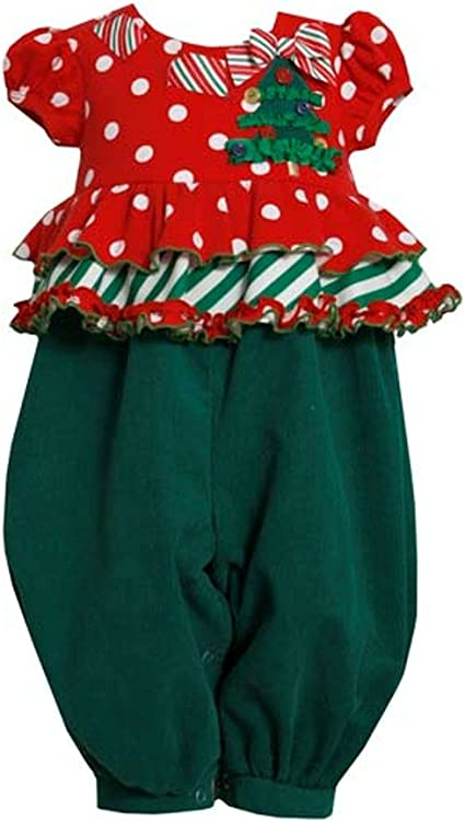 Bonnie Baby by Bonnie Jean Christmas Holiday Candy Cane Corduroy One Piece