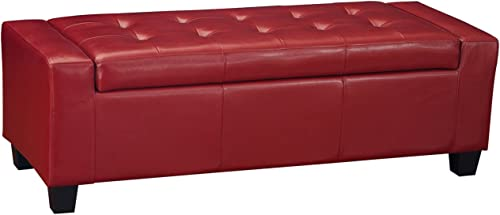 Homebeez Bonded Leather Tufted Accents Rectangular Storage Bench Ottoman Footstool Red