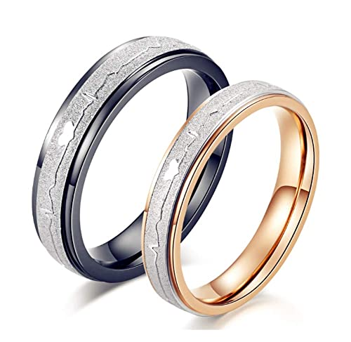 Amazon.com: His Black or Hers Rose Gold Couple Rings ...