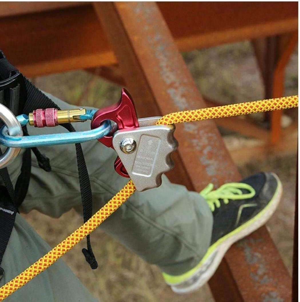 BYFRI 1pcs Outdoor Climbing Equipment Falling Protector Arrester Aluminum Rescue Pulley Rope Grab Tool Safety Rope Self Locking Device Hook