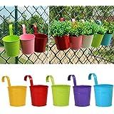 Greenmall - Vasi da fiori in ferro da appendere, ideali per balcone, giardino e come decorazione per la casa, disponibili in 5 colori