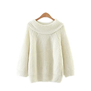 Plaid Sky Slash Neck Off Shoulder Sweater Women Casual Solid Knit Korean Jumper Beige One Size