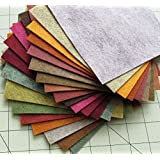 "21 Felt Sheets Mix Color Fall Colors Collection Merino Wool Blend Felt Sheets Crafting, Sewing, General 6""X6"" Squares"